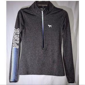 VS PINK (S) Ultimate Gray Sweater | Ombré Deep Zip